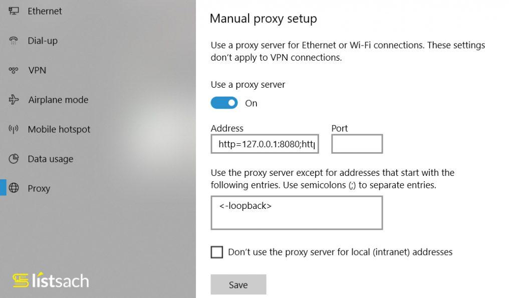 Lỗi auto check vào Use a proxy server - không thay đổi được proxy server
