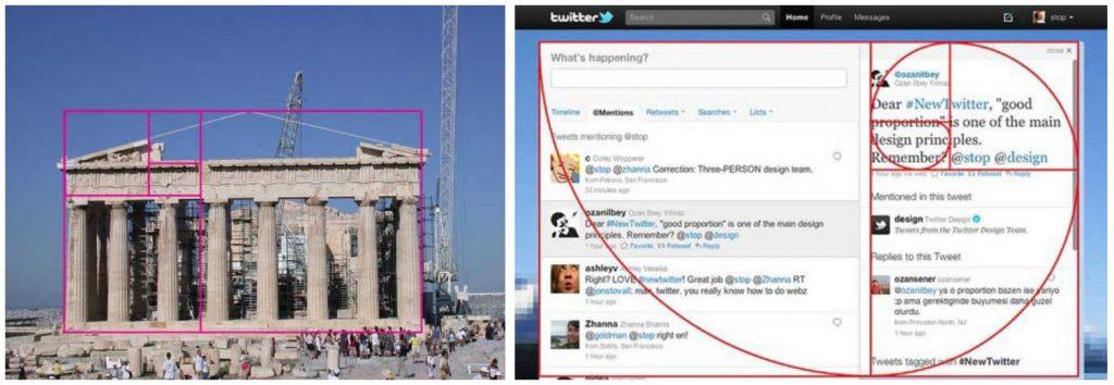 Tỷ lệ vàng trong kiến trúc Đền Parthenon và website Twitter