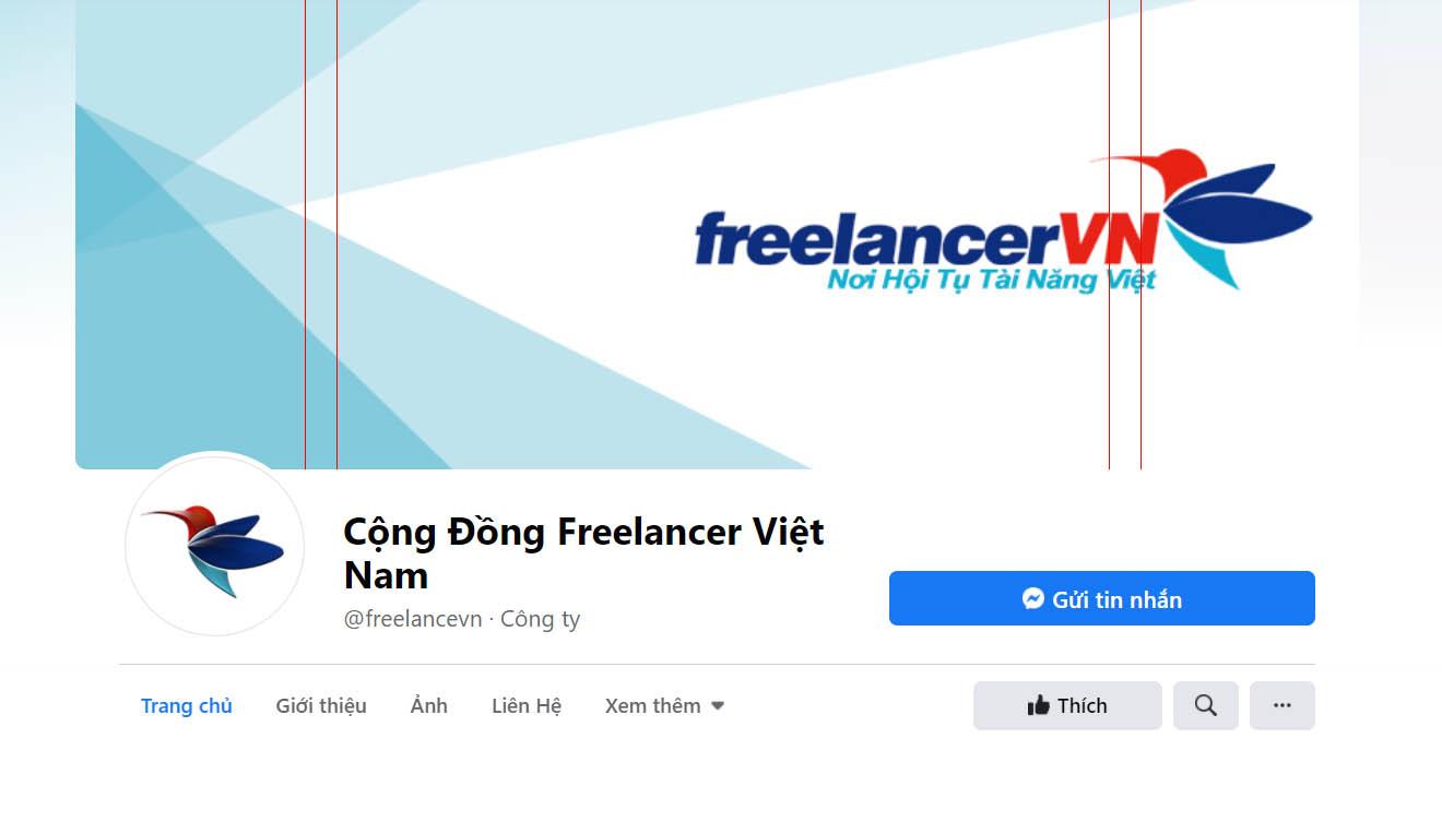 Ảnh bìa fanpage Freelancer VN dựa trên size do fb gợi ý