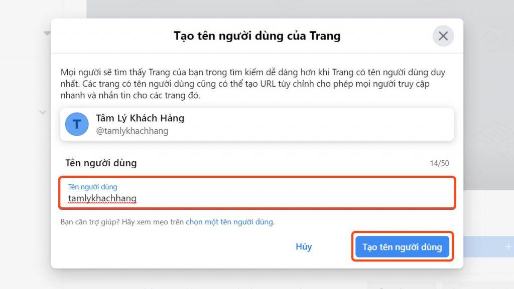 Cài đặt tên người dùng - Set username cho trang fanpage
